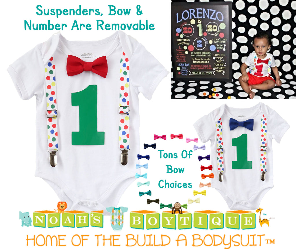 1f68935fb Primary Color Birthday Outfit - Boys First Birthday Outfit - 1st ...