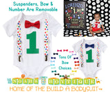 First Birthday Baby Boy Clothes - Primary Color Polka Dot Suspenders - Red Bow Tie - 1st Birthday Clothes - Primary Color Birthday Outfit - Noah's Boytique  - Baby Boy First Birthday Outfit