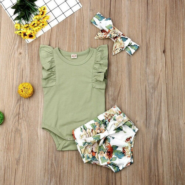 Baby Girl Clothes Sleeveless Ruffle Romper Flower Print Short Pants Headband Outfit 3 piece Set Bloomers Boho Vintage Vibes