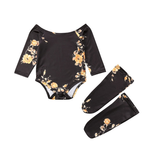 Baby Girl Floral Off  the Shoulder Romper Jumpsuit with Matching Knee Socks Black and Mustard