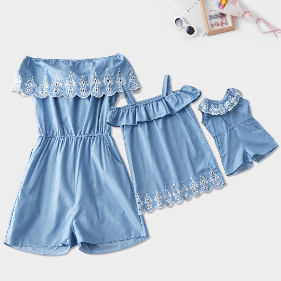 Mommy and Me Matching Clothes Lace Women Jumpsuit Girl Dress Baby Romper Jumpsuits  Mom and Daughter Cute Outfits