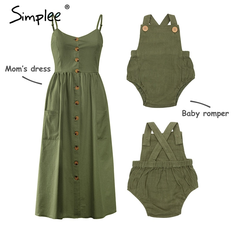 Mother and kids casual button dress Solid matching mom baby family clothes outfits beach dress Cute baby romper mom summer dress spaghetti strap wood buttons linen olive green