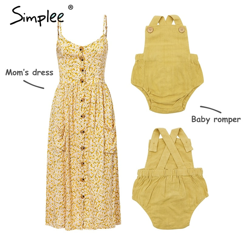Mother and kids casual button dress Solid matching mom baby family clothes outfits beach dress Cute baby romper mom summer dress spaghetti strap wood buttons linen mustard