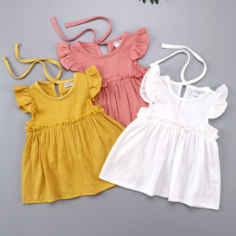 Ruffle Sleeve Girls Summer Dress for Girls Tops Linen Boho Baby Girls Dress Autumn Fall Outfit