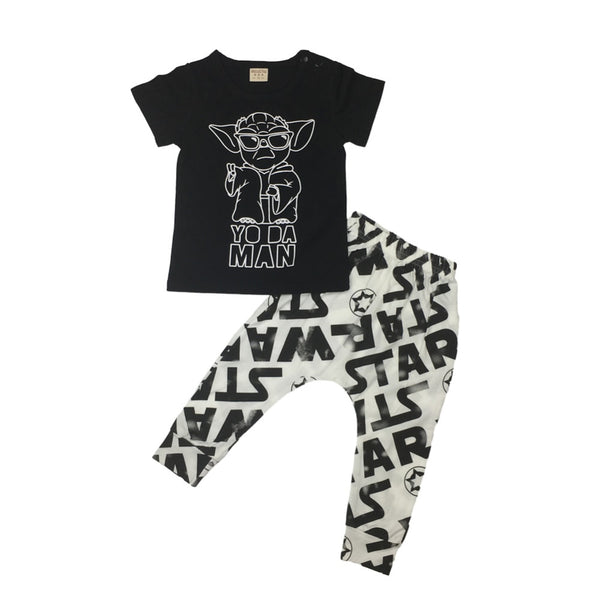 Fashion baby boy clothes star wars printing t shirt pants newborn baby boys clothing set infant outfits children's clothing