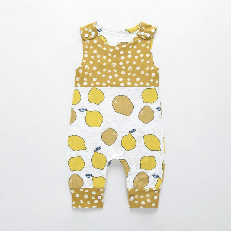 Baby Boy Outfits Clothes Newborn Baby Kids Girl Rompers Toddler Unisex Lemon Printed Sleeveless Cotton Jumpsuit Playsuit