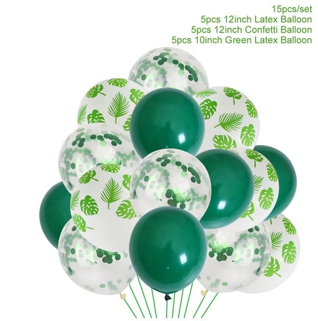 Jungle Party Decorations Green Balloons Palm Leaf latex Animal Forest Birthday Balloon Safari Party Decor Jungle Balloons Animal Zoo Safari Birthday