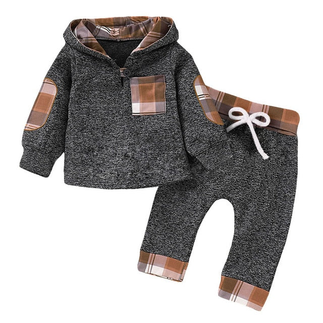 Children Clothing Autumn Winter Baby Boy Clothes Outfit Kids Clothes Tracksuit Suit For Toddler Boys Clothing Sets Buffalo Plaid brown tan