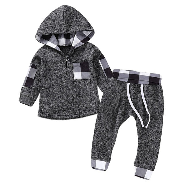 Children Clothing Autumn Winter Baby Boy Clothes Outfit Kids Clothes Tracksuit Suit For Toddler Boys Clothing Sets Buffalo Plaid black and white