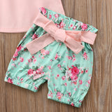 Kids Baby Toddler Girl Lace Clothes Suit Sleeveless Floral Tassel Ruffles T-shirt Green Bow Knot Belt Shorts Summer Outfits