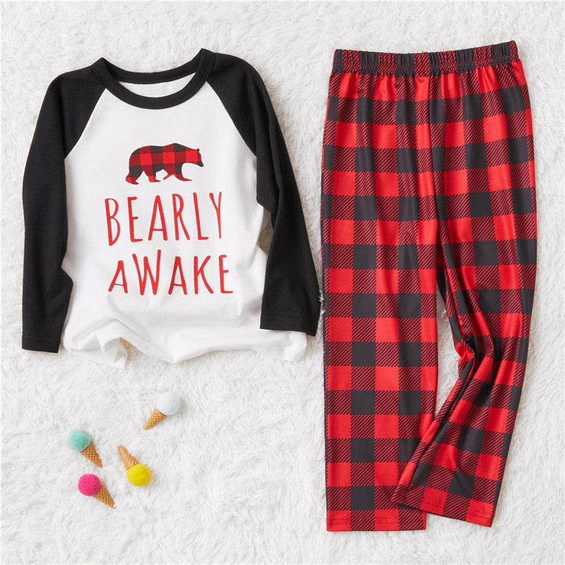 Christmas Family Pajamas Plaid Design ' Bearly Awake ' Matching Pajamas Set Mother Father Kids Baby Sleepwear Outfits  Buffalo Plaid