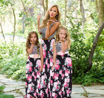 Mother and Daughter Dresses Sleeveless Black Stripe Floral Long Maxi Dress Mom and Daughter Dress Mommy and me clothes