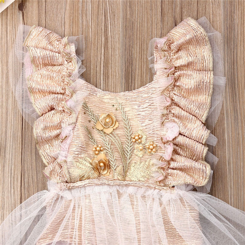 Baby Girls Vintage Inspired Chiffon Tutu Romper with Floral Embroidery Fancy Baby Girl Romper Ruffle Sleeves Victorian Style