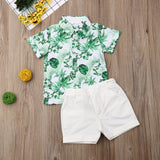 Toddler Boy Clothes Leaf Palm Tree Print Short Sleeve Button Shirt  with White Shorts Outfit Gentleman Clothes Summer Vacation