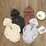 Long Sleeve Thermal Style Hooded Baby Rompers Infant Baby Girls Baby Boys Unisex Winter Outfits for Babies Neutral Tones