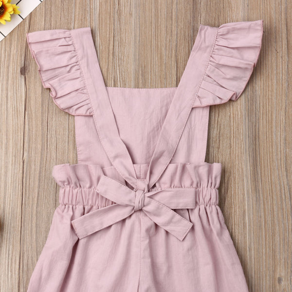 Baby Toddler Girl Sleeveless Ruffle Romper Jumpsuit One-Piece Outfit Cotton Clothes Cute Girls Clothes