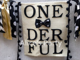 Mr Onederful  Black Gold Highchair Banner Boy 1st Birthday Party Garland Bunting Gentleman Themed Baby shower Decorations