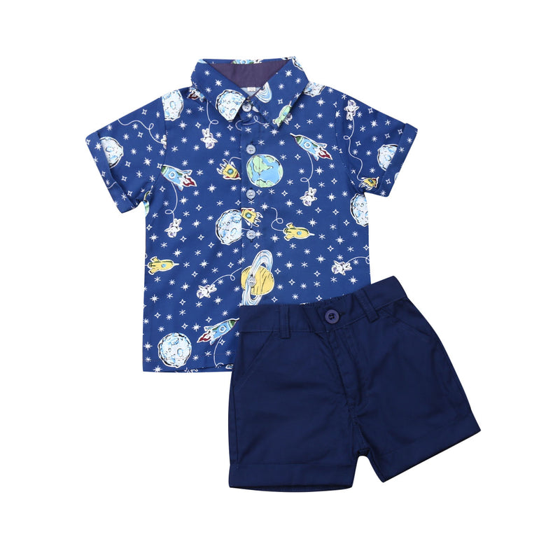 boys space print shirt with collar button up shirt short set toddler boys  rocket ship space ship earth