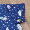 Boys Space Print Button Up Collar Shirt and Shorts Set Rocket Ships Earth