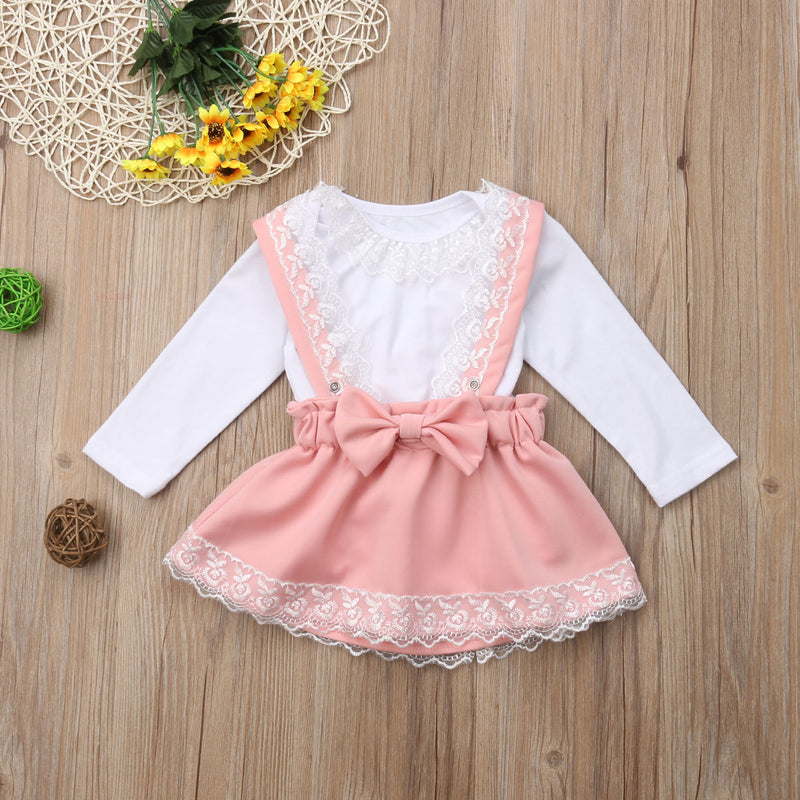 girls pink overall skirt set baby  girls pink overall set  girls pink skirt with bow and lace long sleeve shirt set  girls long sleeve lace shirt