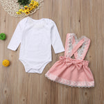 Girls Long Sleeve Lace Top with Pink Skirt Overalls and Pink Bow Ruffle Set