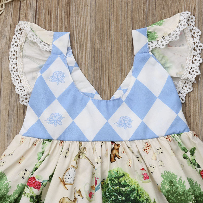Toddler Girls Vintage Inspired Alice in Wonderland Dress Retro Print