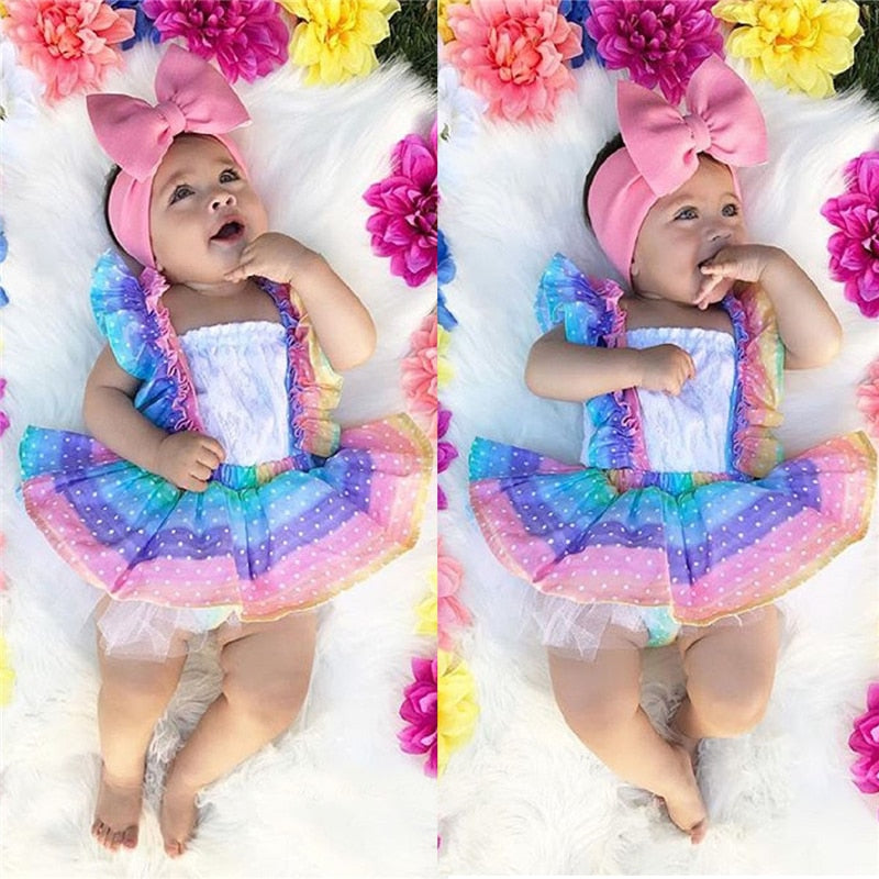 Baby Girl Rainbow Striped Lace Tutu Party Birthday Dress 2 Piece Set Spring Outfit