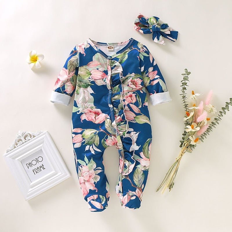 Winter Jumpsuit Newborn Infant Baby Girl Boy Footed Sleeper Romper Headband Set Floral Print