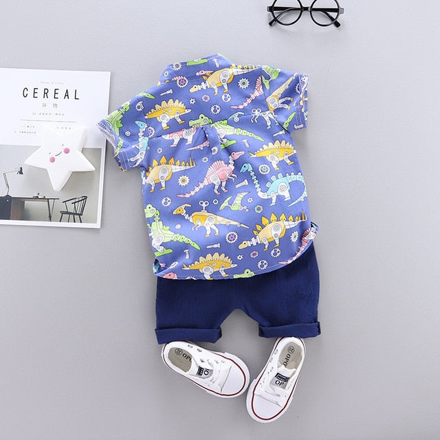 Baby Boy Clothes Dinosaur Printed Shirt and Solid Color Shorts Cute Baby Boy Outfits