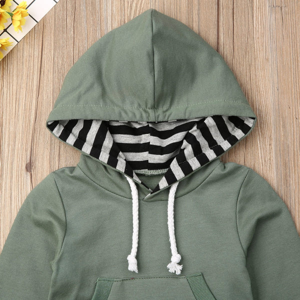 Baby Boy Hoodie and Pants Set with Adorable Stripes