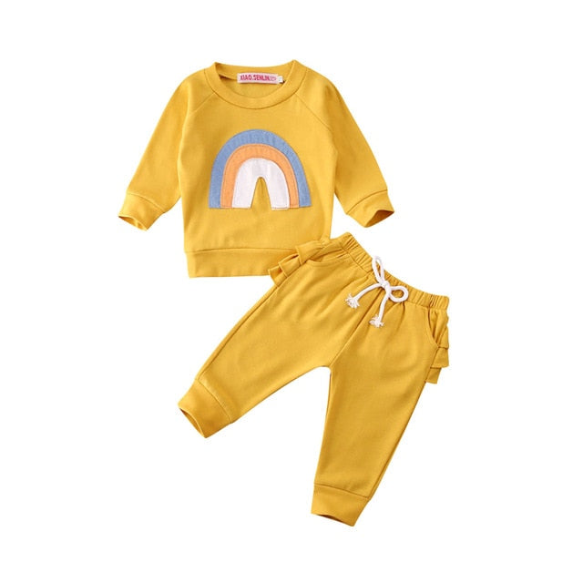 Baby Girl Rainbow Boho Sweatshirt and Sweat Pants