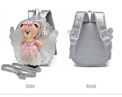 Angel Bear Girl School Backpack Kindergarten Kids Bag with Strap