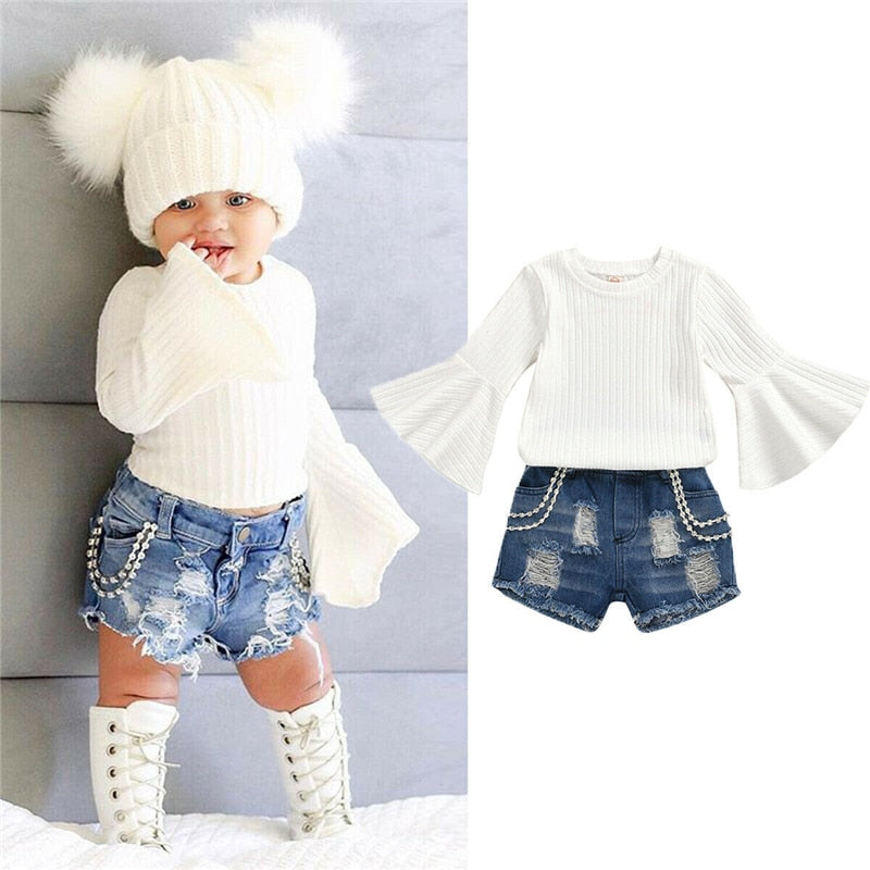 Toddler Girl Distressed Denim Shorts with White Flutter Sleeve Top