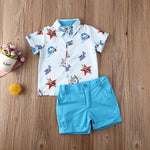 Toddler Boys Vintage Airplane Print Button Up Collar Shirt with Pants Or Shorts Plane Shirt