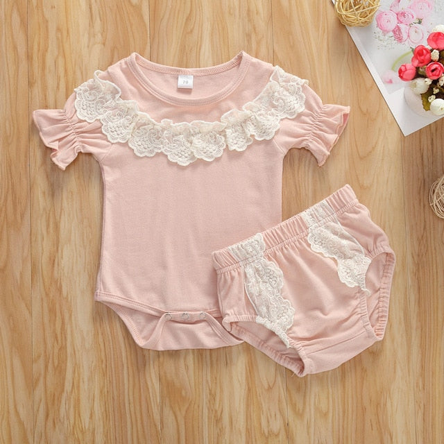Newborn Baby Romper Two-piece Set Crochet Lace Bottoms Lace Top Set
