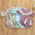 vintage inspired baby girl rompers  baby girl outfit with lace and ruffles  baby girl onesie with lace ruffle collar  baby girl lace onesie and bloomer set  baby girl gift outfit set