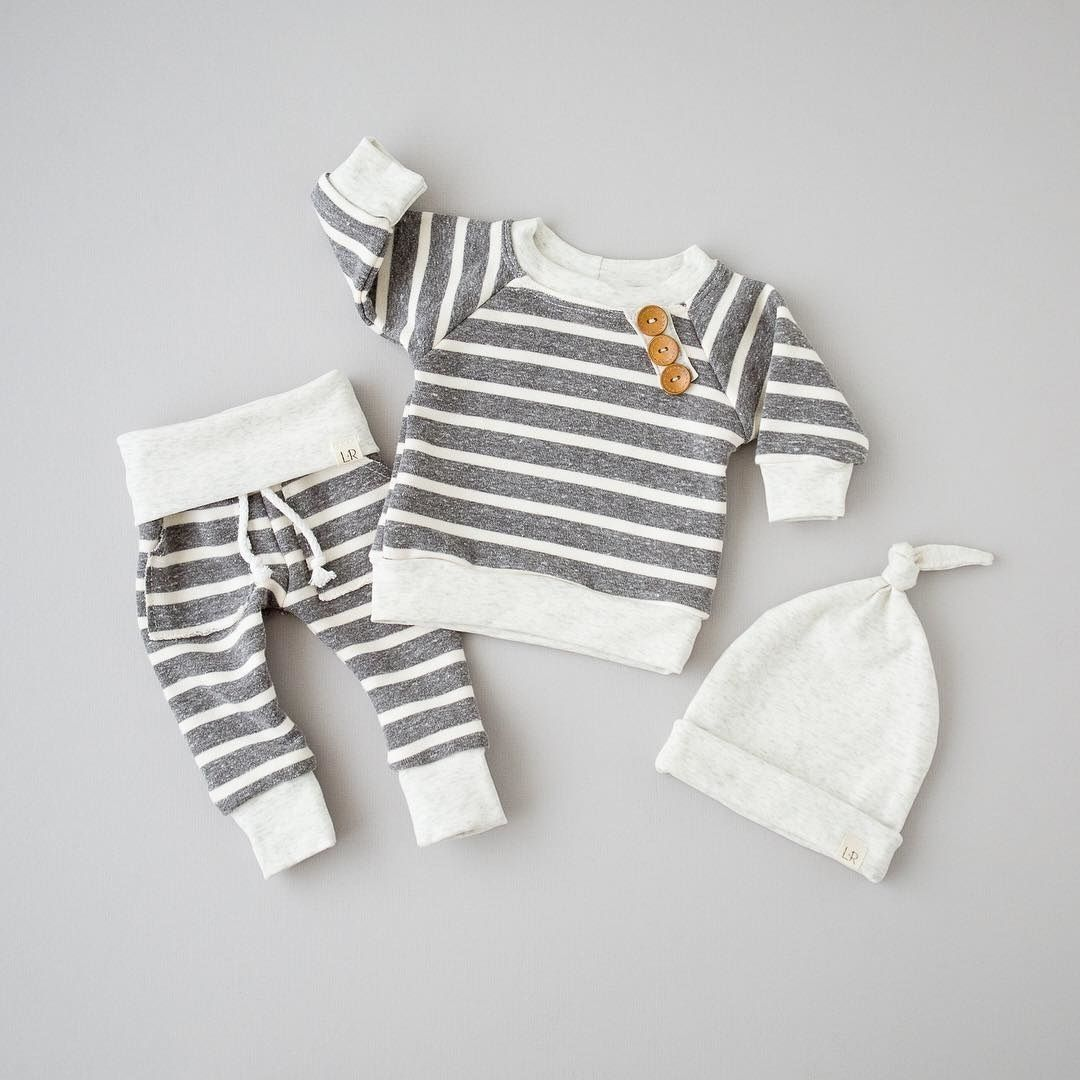3 piece Long Sleeve Grey and White Stripe Shirt with  Wood Buttons Matching Pants and Hat Baby Boy Clothing Set