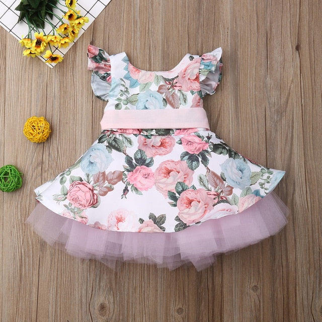 Princess Toddler Baby Girls Dress Flower Lace Tutu Party Wedding Birthday Dress For Girls Tea Party Spring