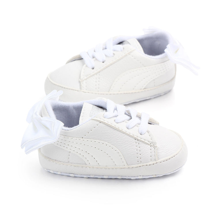 Baby Boy Girl Classic Sports Sneakers Newborn Leather Non-slip First Walkers With Bow Infant Toddler Soft Sole Shoes