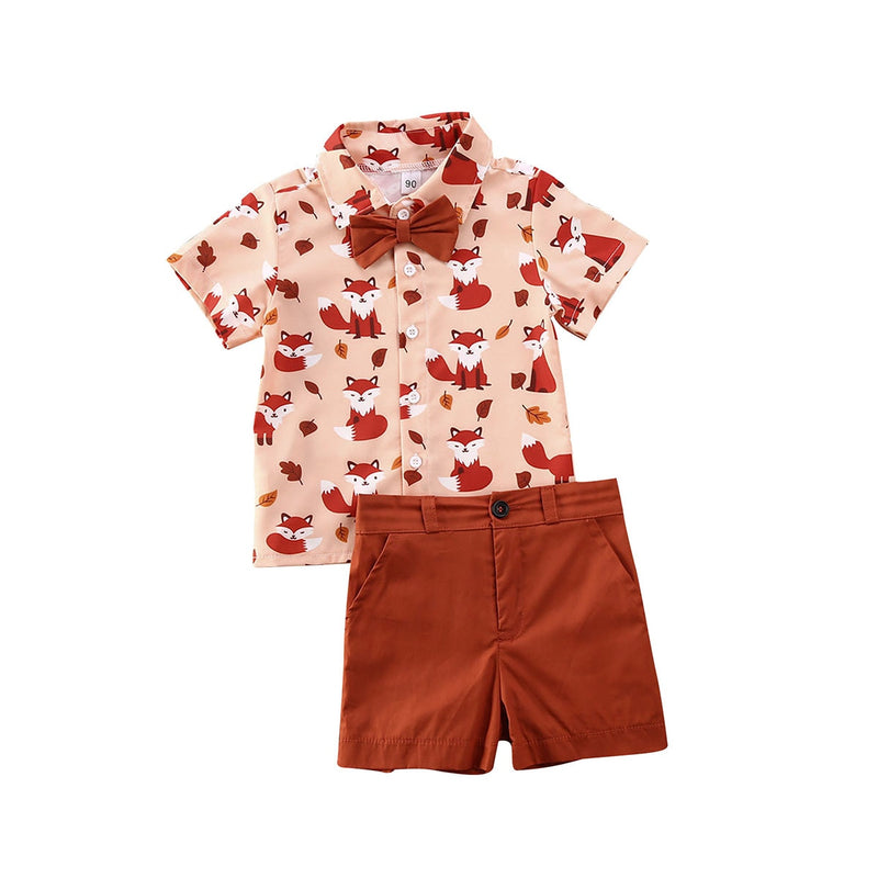 boys fox shirt with bow tie rust burnt orange collar button up shirt and shorts set toddler boys