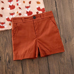 Boys Fox Print Button Up Collard Shirt with Bow Tie and Shorts Set Rust Orange