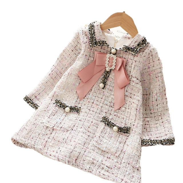 Girls Classic Tweed Plaid Dress with Big Bow and Rhinestone Detailing