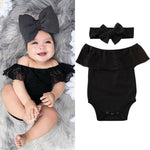Infant Baby Girl Black Lace Off the Shoulder Romper and Headband Outfit Set Summer Clothes