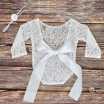 Newborn Baby Girl Lace and Bow Photo Outfit with Headband Set Newborn Pictures Photo Prop