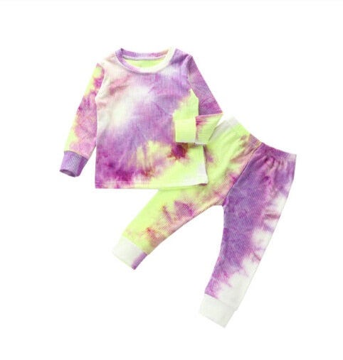 Toddler Baby Kids Girls and Boys Tie Dye Clothes Ribbed Knit Long Sleeve Shirt Pants Set Pajamas