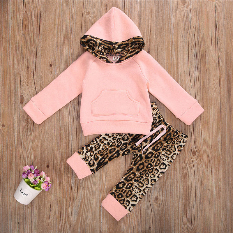 Girls Leopard Leggings and Sweatshirt Hoodie Set