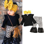 Baby Girl Leopard Flare Leggings with Flutter Sleeve Top and Headband