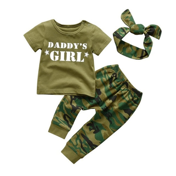 Newborn Baby Boys Mommy's Boy Camo Set Daddy's Girl Camo Set