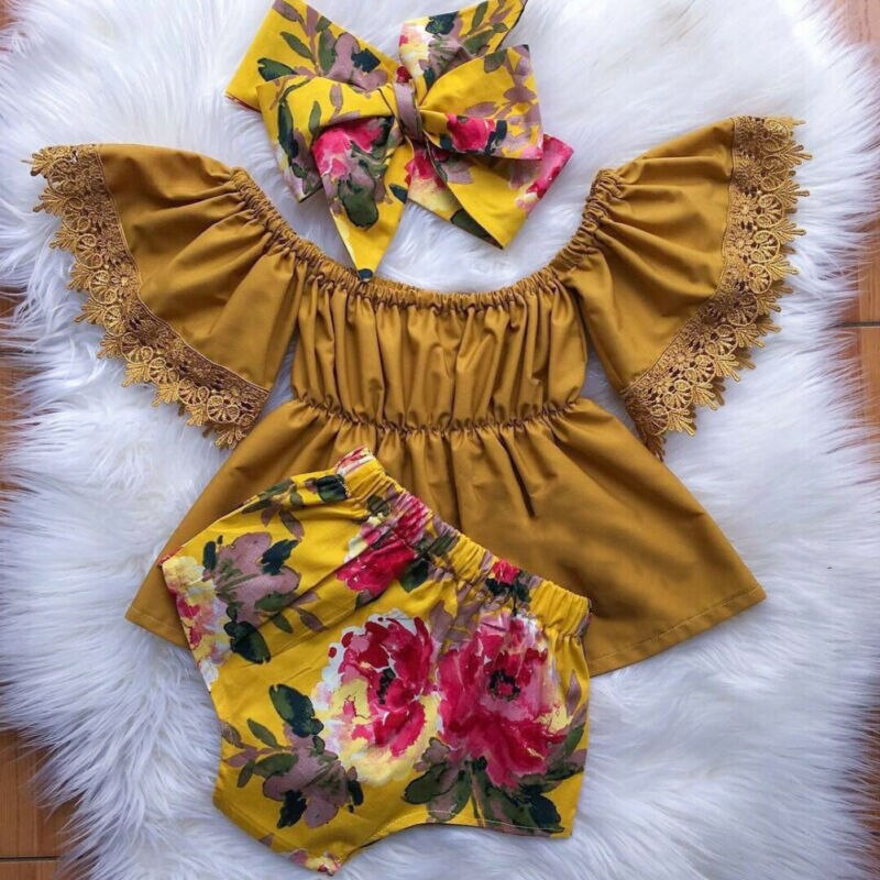 Baby Girl Clothes Off the Shoulder Lace Top with Floral Shorts 3 Piece Outfit with Headwrap