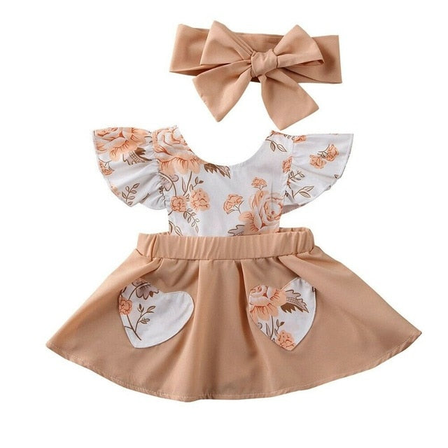 Baby Girl Summer Dress Clothes Flower Boho Natural Colors Peach Floral Romper Set